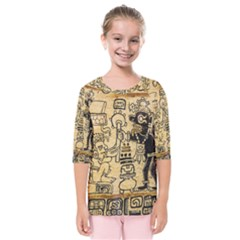 Mystery Pattern Pyramid Peru Aztec Font Art Drawing Illustration Design Text Mexico History Indian Kids  Quarter Sleeve Raglan Tee