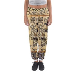 Mystery Pattern Pyramid Peru Aztec Font Art Drawing Illustration Design Text Mexico History Indian Women s Jogger Sweatpants