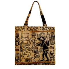 Mystery Pattern Pyramid Peru Aztec Font Art Drawing Illustration Design Text Mexico History Indian Zipper Grocery Tote Bag