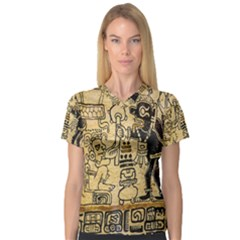 Mystery Pattern Pyramid Peru Aztec Font Art Drawing Illustration Design Text Mexico History Indian V-Neck Sport Mesh Tee