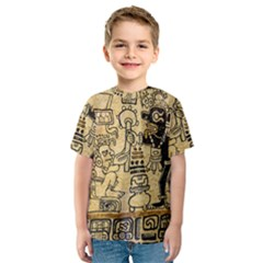Mystery Pattern Pyramid Peru Aztec Font Art Drawing Illustration Design Text Mexico History Indian Kids  Sport Mesh Tee