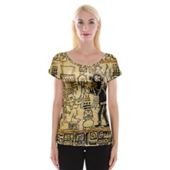 Mystery Pattern Pyramid Peru Aztec Font Art Drawing Illustration Design Text Mexico History Indian Cap Sleeve Tops