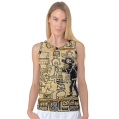 Mystery Pattern Pyramid Peru Aztec Font Art Drawing Illustration Design Text Mexico History Indian Women s Basketball Tank Top