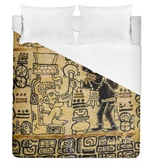 Mystery Pattern Pyramid Peru Aztec Font Art Drawing Illustration Design Text Mexico History Indian Duvet Cover (queen Size) by Celenk