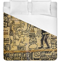 Mystery Pattern Pyramid Peru Aztec Font Art Drawing Illustration Design Text Mexico History Indian Duvet Cover (King Size)