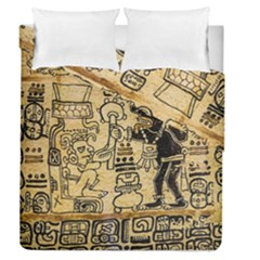 Mystery Pattern Pyramid Peru Aztec Font Art Drawing Illustration Design Text Mexico History Indian Duvet Cover Double Side (Queen Size)