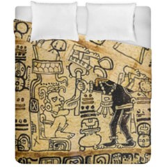 Mystery Pattern Pyramid Peru Aztec Font Art Drawing Illustration Design Text Mexico History Indian Duvet Cover Double Side (California King Size)
