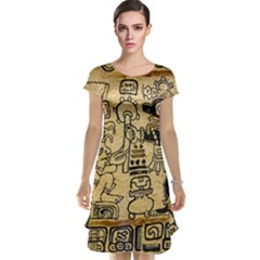 Mystery Pattern Pyramid Peru Aztec Font Art Drawing Illustration Design Text Mexico History Indian Cap Sleeve Nightdress