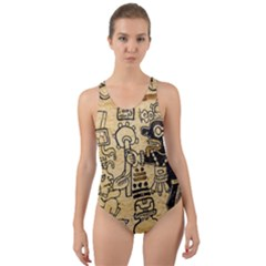 Mystery Pattern Pyramid Peru Aztec Font Art Drawing Illustration Design Text Mexico History Indian Cut-Out Back One Piece Swimsuit