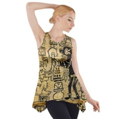Mystery Pattern Pyramid Peru Aztec Font Art Drawing Illustration Design Text Mexico History Indian Side Drop Tank Tunic