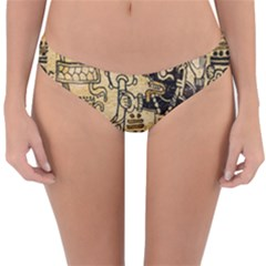Mystery Pattern Pyramid Peru Aztec Font Art Drawing Illustration Design Text Mexico History Indian Reversible Hipster Bikini Bottoms