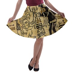 Mystery Pattern Pyramid Peru Aztec Font Art Drawing Illustration Design Text Mexico History Indian A-line Skater Skirt
