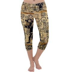 Mystery Pattern Pyramid Peru Aztec Font Art Drawing Illustration Design Text Mexico History Indian Capri Yoga Leggings