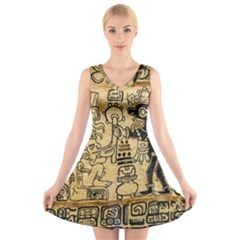 Mystery Pattern Pyramid Peru Aztec Font Art Drawing Illustration Design Text Mexico History Indian V-Neck Sleeveless Skater Dress