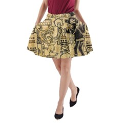 Mystery Pattern Pyramid Peru Aztec Font Art Drawing Illustration Design Text Mexico History Indian A-Line Pocket Skirt