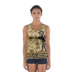 Mystery Pattern Pyramid Peru Aztec Font Art Drawing Illustration Design Text Mexico History Indian Sport Tank Top