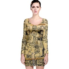 Mystery Pattern Pyramid Peru Aztec Font Art Drawing Illustration Design Text Mexico History Indian Long Sleeve Velvet Bodycon Dress