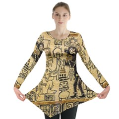 Mystery Pattern Pyramid Peru Aztec Font Art Drawing Illustration Design Text Mexico History Indian Long Sleeve Tunic