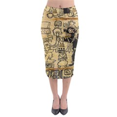 Mystery Pattern Pyramid Peru Aztec Font Art Drawing Illustration Design Text Mexico History Indian Midi Pencil Skirt