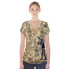 Mystery Pattern Pyramid Peru Aztec Font Art Drawing Illustration Design Text Mexico History Indian Short Sleeve Front Detail Top