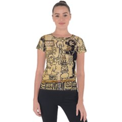 Mystery Pattern Pyramid Peru Aztec Font Art Drawing Illustration Design Text Mexico History Indian Short Sleeve Sports Top