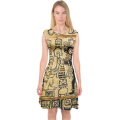 Mystery Pattern Pyramid Peru Aztec Font Art Drawing Illustration Design Text Mexico History Indian Capsleeve Midi Dress