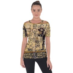 Mystery Pattern Pyramid Peru Aztec Font Art Drawing Illustration Design Text Mexico History Indian Short Sleeve Top