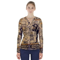 Mystery Pattern Pyramid Peru Aztec Font Art Drawing Illustration Design Text Mexico History Indian V-Neck Long Sleeve Top