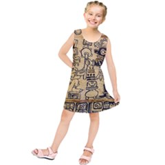 Mystery Pattern Pyramid Peru Aztec Font Art Drawing Illustration Design Text Mexico History Indian Kids  Tunic Dress