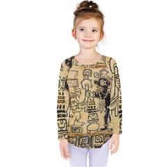 Mystery Pattern Pyramid Peru Aztec Font Art Drawing Illustration Design Text Mexico History Indian Kids  Long Sleeve Tee by Celenk