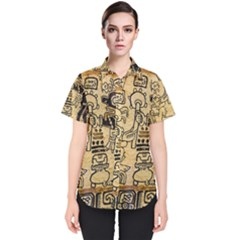 Mystery Pattern Pyramid Peru Aztec Font Art Drawing Illustration Design Text Mexico History Indian Women s Short Sleeve Shirt