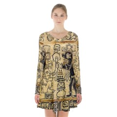 Mystery Pattern Pyramid Peru Aztec Font Art Drawing Illustration Design Text Mexico History Indian Long Sleeve Velvet V-neck Dress