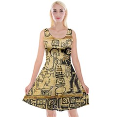 Mystery Pattern Pyramid Peru Aztec Font Art Drawing Illustration Design Text Mexico History Indian Reversible Velvet Sleeveless Dress