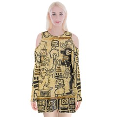 Mystery Pattern Pyramid Peru Aztec Font Art Drawing Illustration Design Text Mexico History Indian Velvet Long Sleeve Shoulder Cutout Dress
