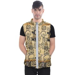 Mystery Pattern Pyramid Peru Aztec Font Art Drawing Illustration Design Text Mexico History Indian Men s Puffer Vest