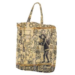 Mystery Pattern Pyramid Peru Aztec Font Art Drawing Illustration Design Text Mexico History Indian Giant Grocery Zipper Tote