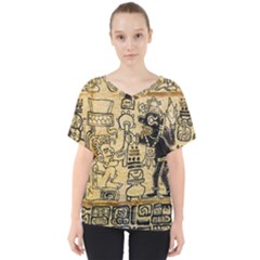 Mystery Pattern Pyramid Peru Aztec Font Art Drawing Illustration Design Text Mexico History Indian V-Neck Dolman Drape Top