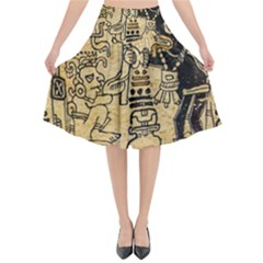 Mystery Pattern Pyramid Peru Aztec Font Art Drawing Illustration Design Text Mexico History Indian Flared Midi Skirt