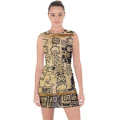 Mystery Pattern Pyramid Peru Aztec Font Art Drawing Illustration Design Text Mexico History Indian Lace Up Front Bodycon Dress