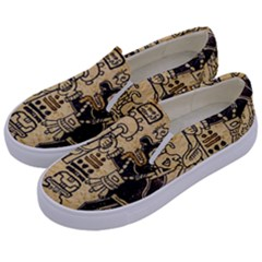 Mystery Pattern Pyramid Peru Aztec Font Art Drawing Illustration Design Text Mexico History Indian Kids  Canvas Slip Ons