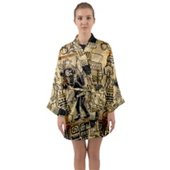 Mystery Pattern Pyramid Peru Aztec Font Art Drawing Illustration Design Text Mexico History Indian Long Sleeve Kimono Robe
