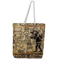 Mystery Pattern Pyramid Peru Aztec Font Art Drawing Illustration Design Text Mexico History Indian Full Print Rope Handle Tote (Large)