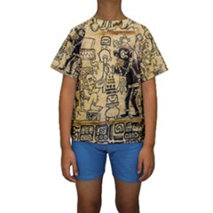 Mystery Pattern Pyramid Peru Aztec Font Art Drawing Illustration Design Text Mexico History Indian Kids  Short Sleeve Swimwear by Celenk