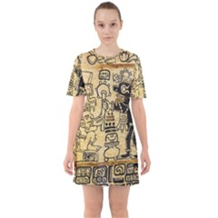 Mystery Pattern Pyramid Peru Aztec Font Art Drawing Illustration Design Text Mexico History Indian Sixties Short Sleeve Mini Dress by Celenk