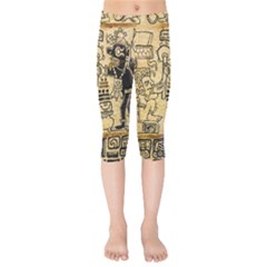 Mystery Pattern Pyramid Peru Aztec Font Art Drawing Illustration Design Text Mexico History Indian Kids  Capri Leggings  by Celenk