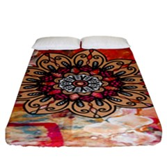 Mandala Art Design Pattern Ethnic Fitted Sheet (king Size) by Celenk