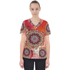 Mandala Art Design Pattern Ethnic Scrub Top