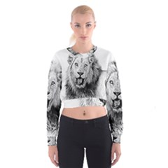 Lion Wildlife Art And Illustration Pencil Cropped Sweatshirt by Celenk