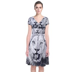 Lion Wildlife Art And Illustration Pencil Short Sleeve Front Wrap Dress by Celenk