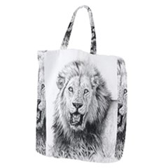 Lion Wildlife Art And Illustration Pencil Giant Grocery Zipper Tote by Celenk